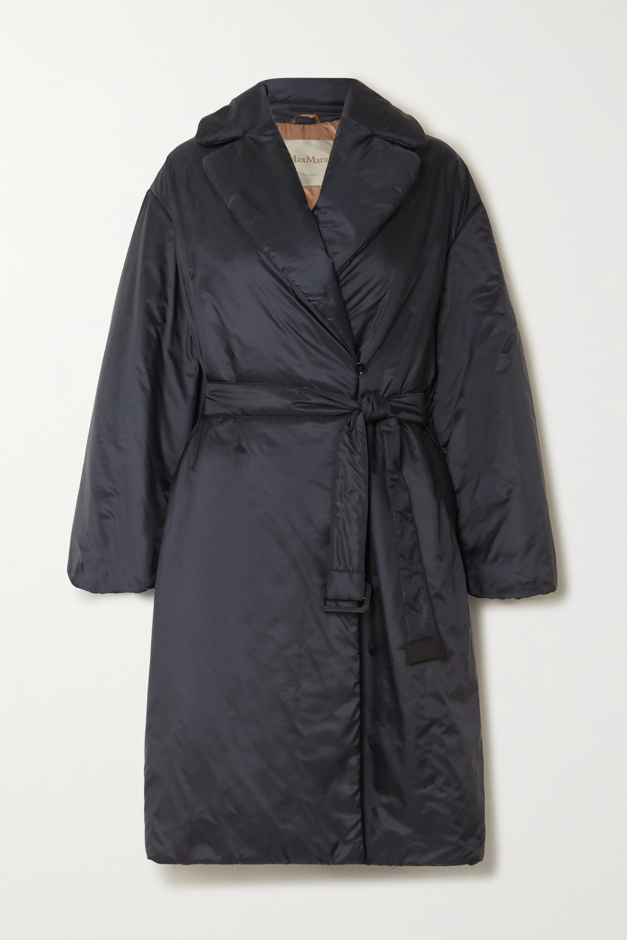 The Cube belted padded shell coat