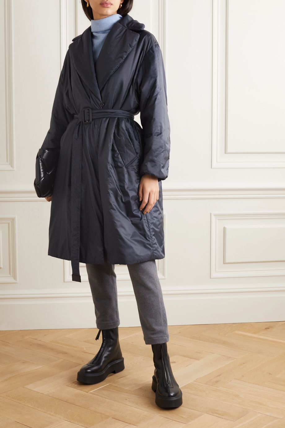 Max Mara The Cube belted padded shell coat
