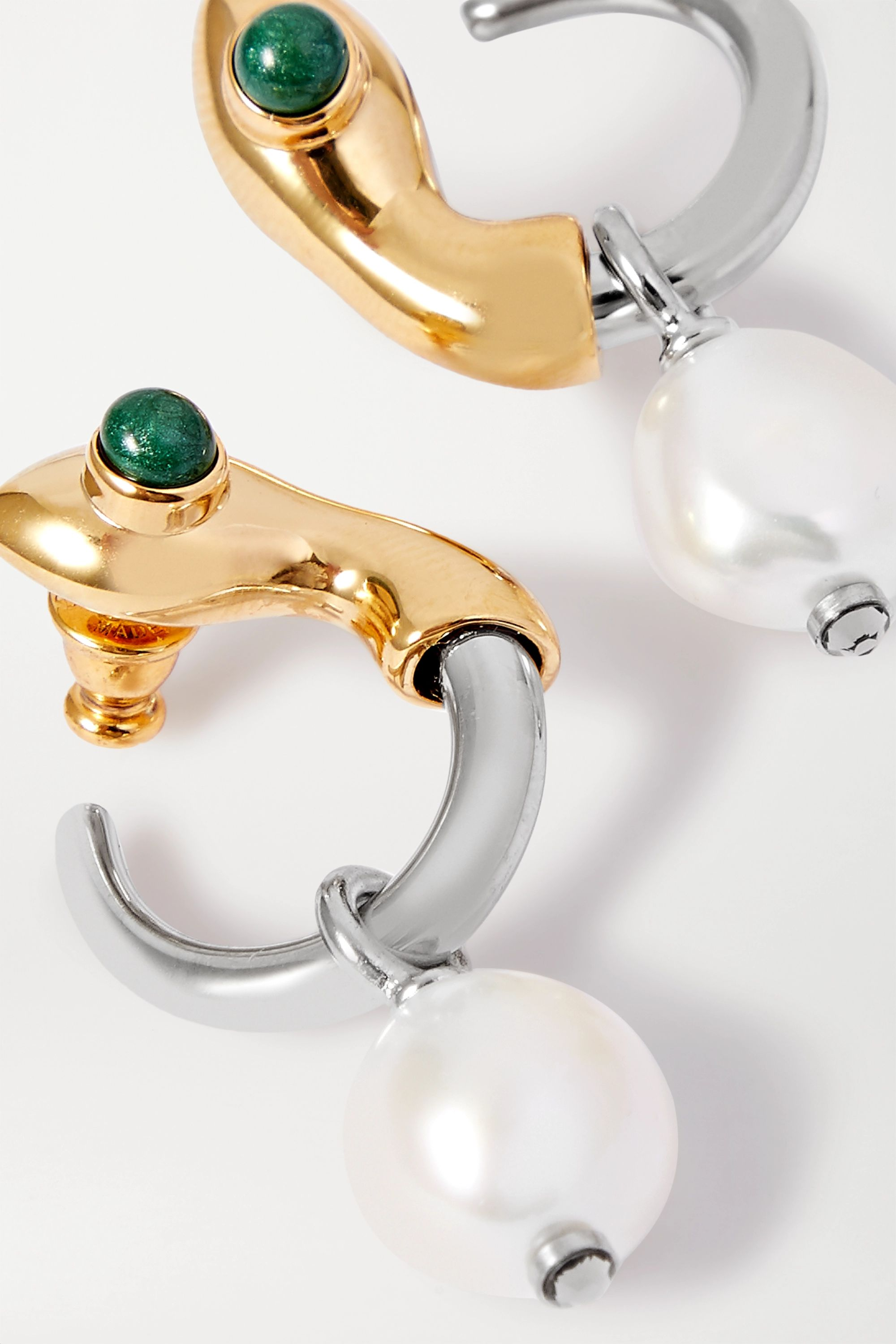 Chloé Callie gold and silver-tone, pearl, enamel and crystal earrings