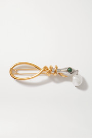 Chloé Allie gold and silver-tone pearl and enamel hair clip