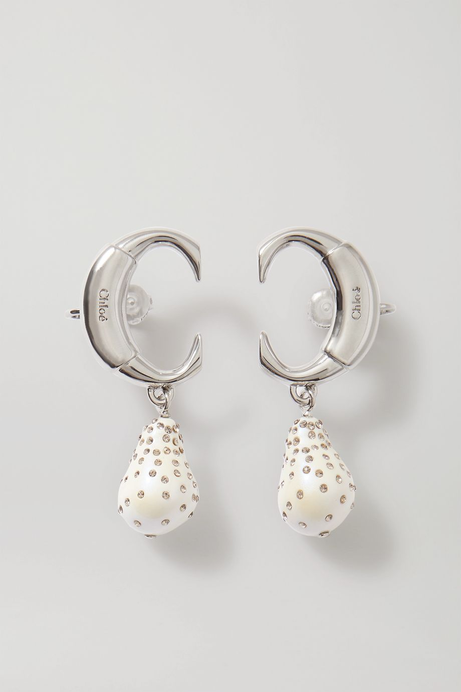 Chloé Darcey silver-tone, faux pearl and crystal clip earrings