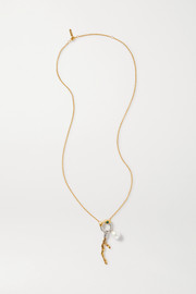 Chloé Connie gold and silver-tone, pearl and crystal necklace