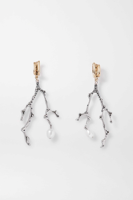 Chloé Boucles d'oreilles clip en métal doré et argenté, perles et cristaux Connie