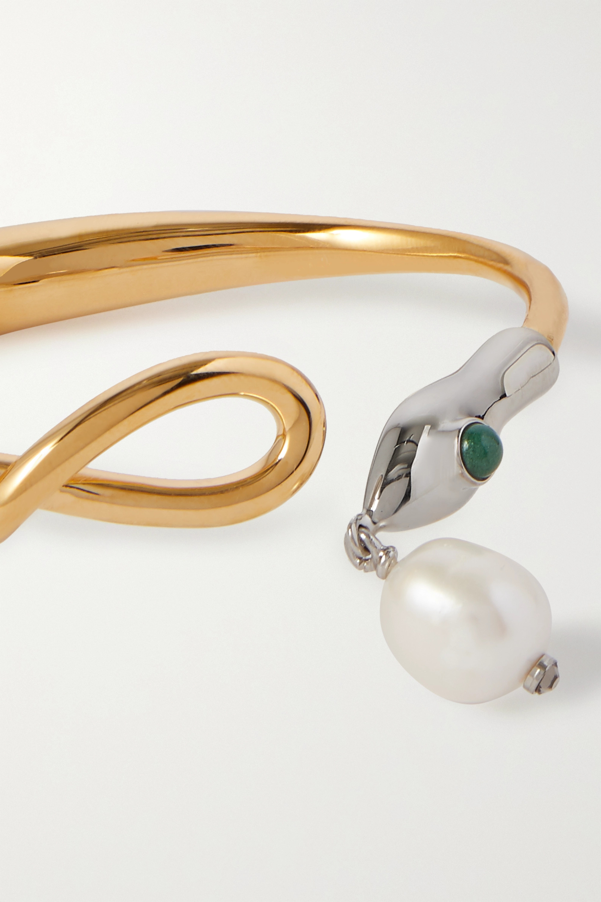 Chloé Gold-tone, silver-tone, pearl and enamel bangle
