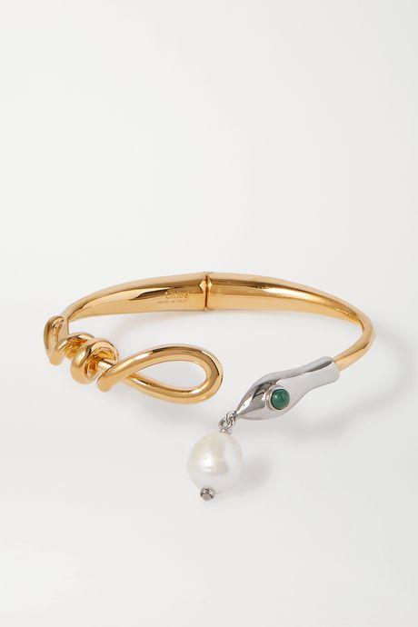 Gold Gold-tone, silver-tone, pearl and enamel bangle | Chloé r8Go8Y