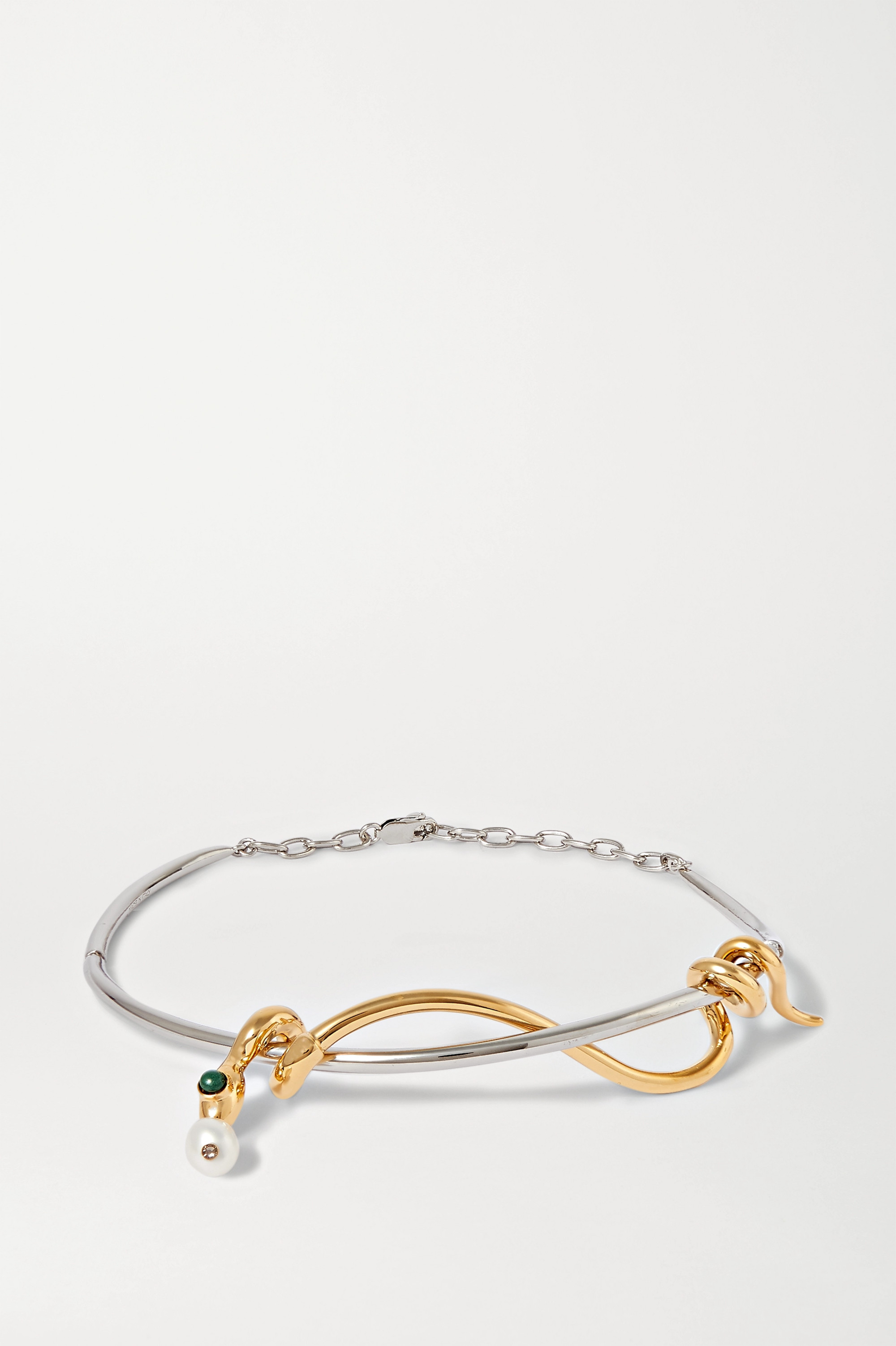 Chloé Callie silver and gold-tone multi-stone necklace
