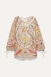 Tie-detailed paisley-print chiffon blouse