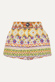 Appliquéd printed cotton-poplin shorts