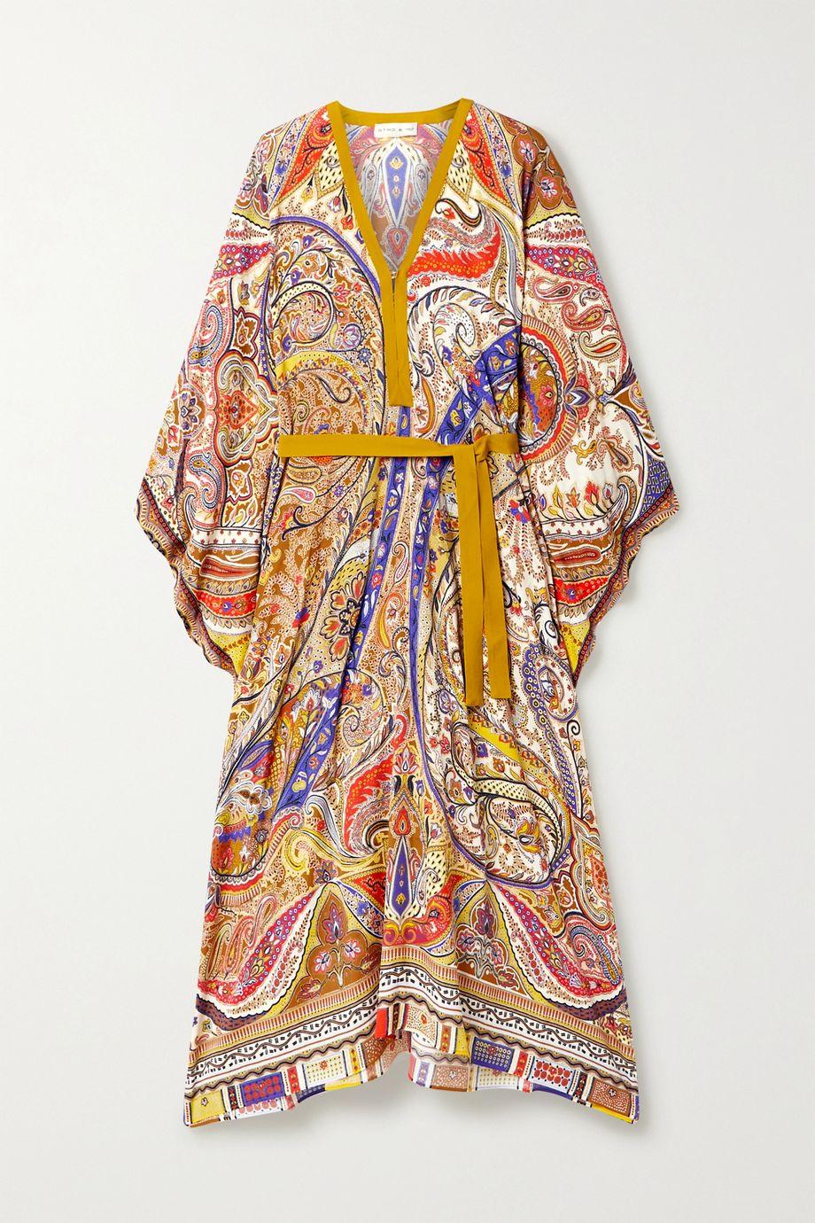 Etro Belted paisley-print crepe kaftan
