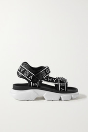 Givenchy Jaw logo-jacquard and perforated faux leather platform sandals