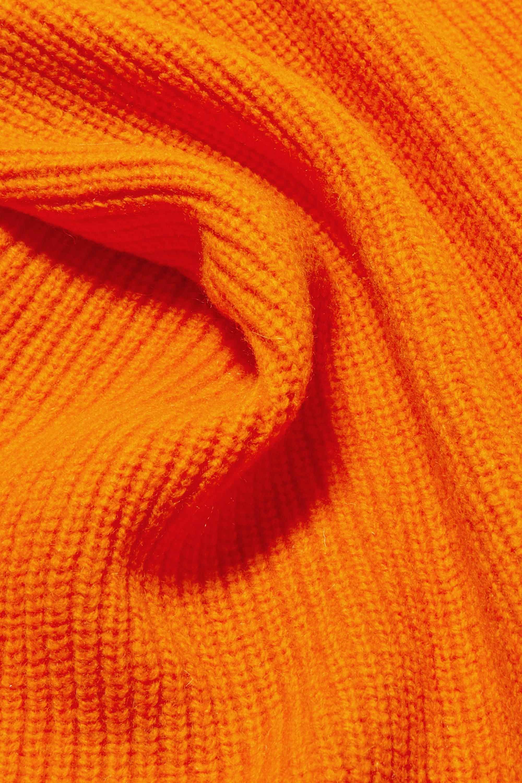 GANNI Ribbed wool-blend scarf