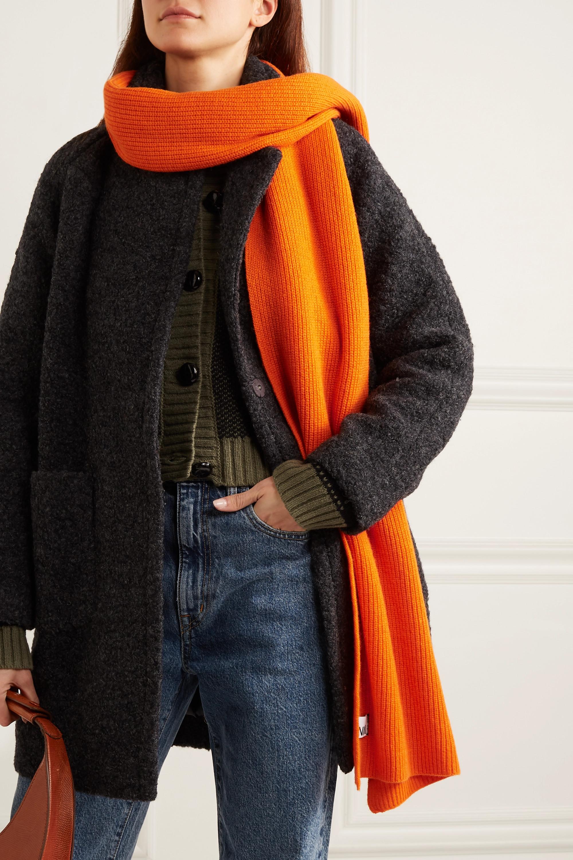 GANNI Schal aus einer gerippten Wollmischung