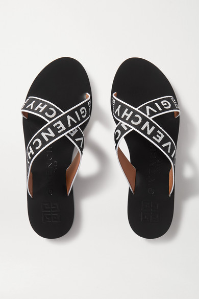 Givenchy Logo Crossover Strap Sliders In Black