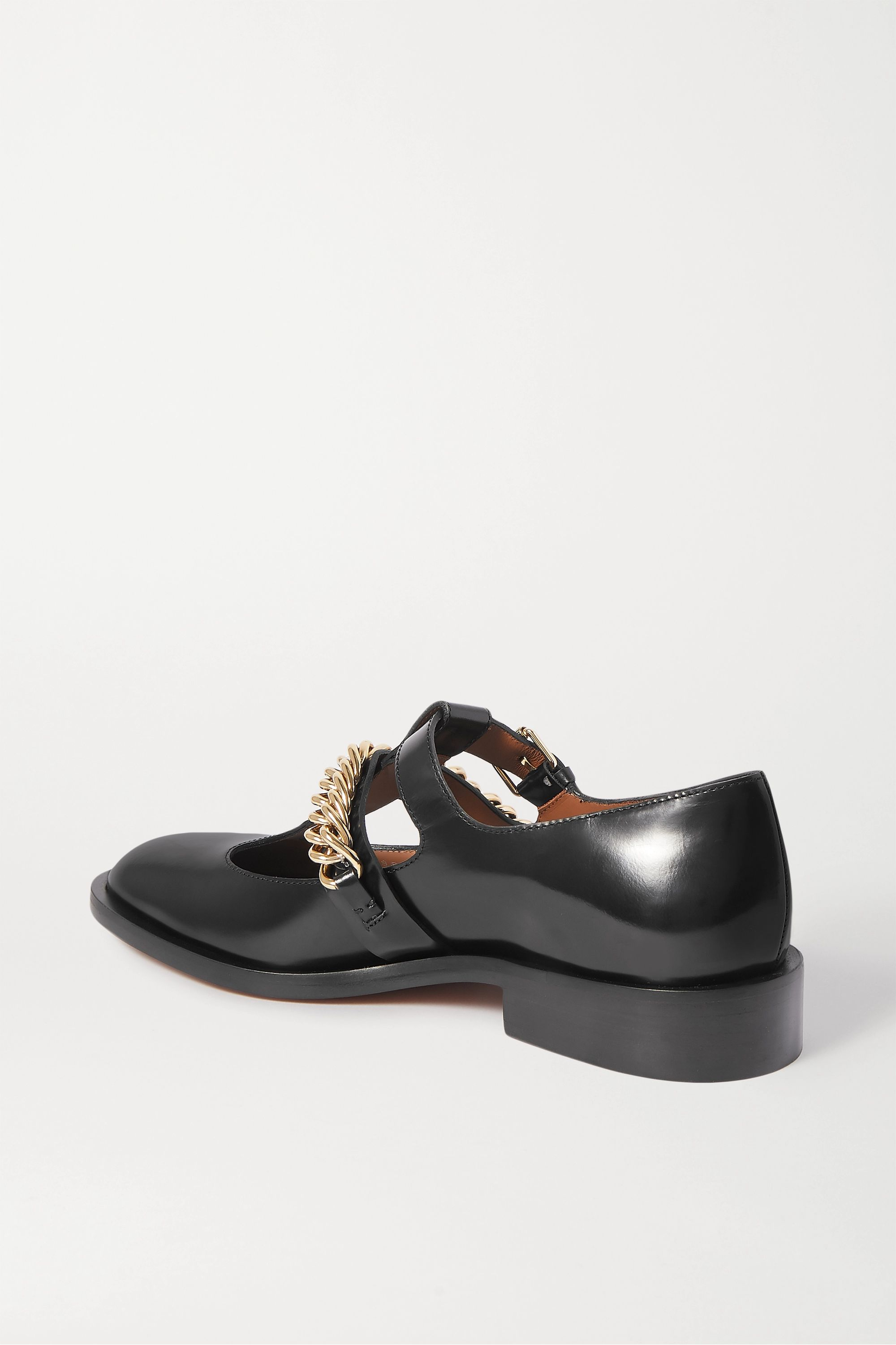 Givenchy Chain-embellished glossed-leather flats