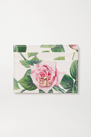 Floral-print textured-leather cardholder