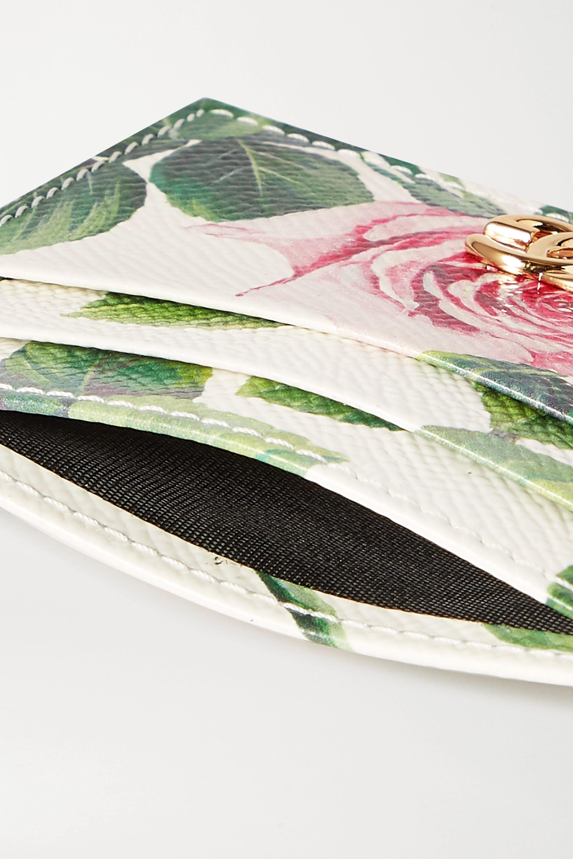 Dolce & Gabbana Floral-print textured-leather cardholder