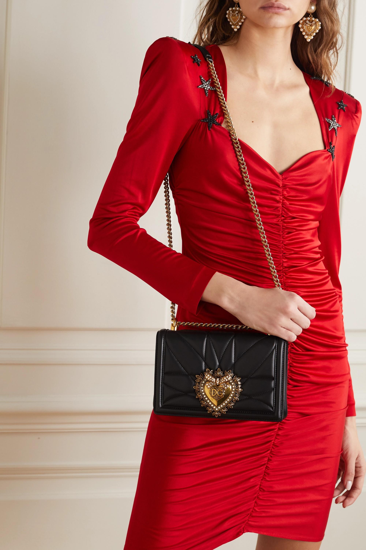 Dolce & Gabbana Devotion mini embellished quilted leather shoulder bag