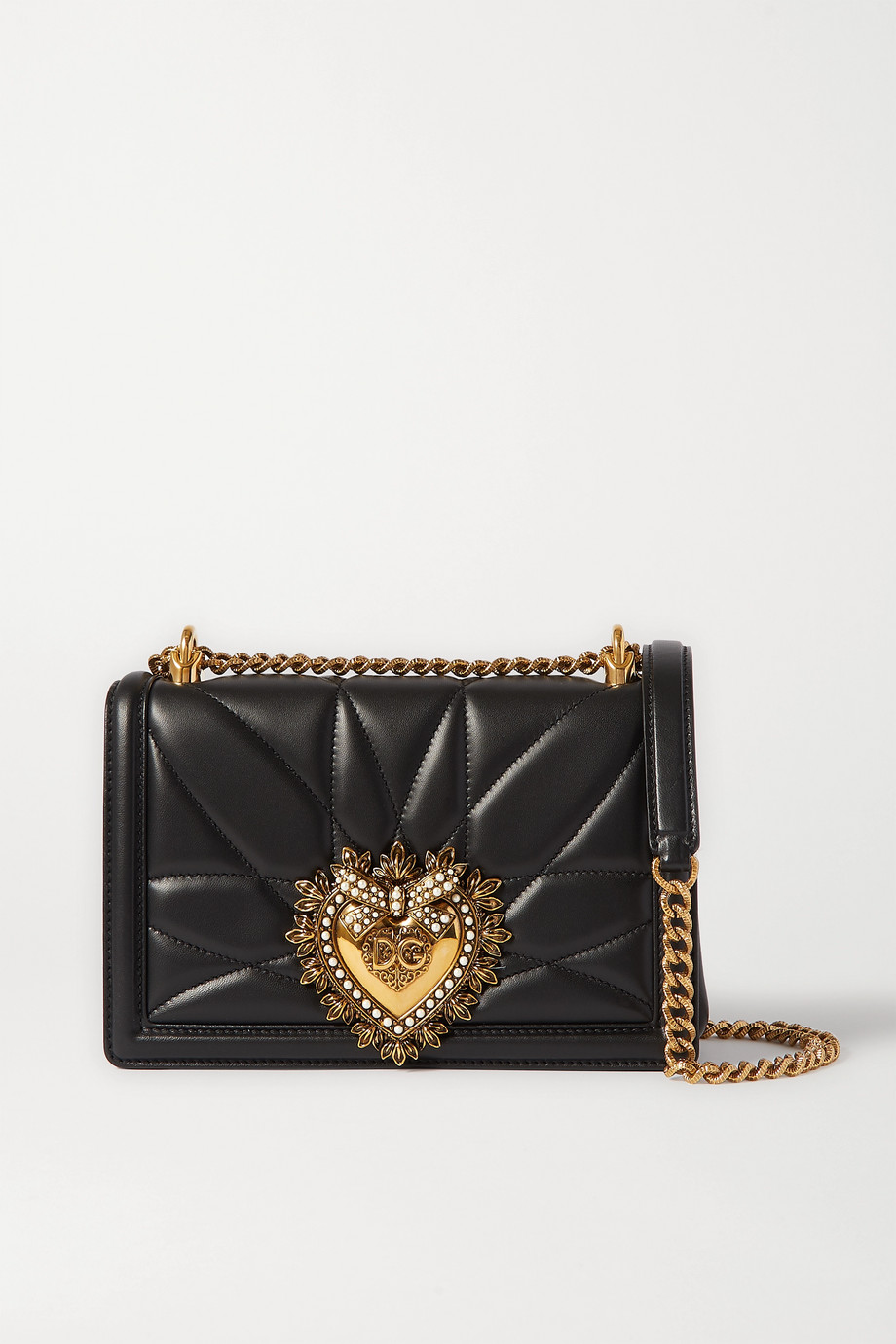 Dolce & Gabbana Devotion mini embellished quilted leather shoulder bag