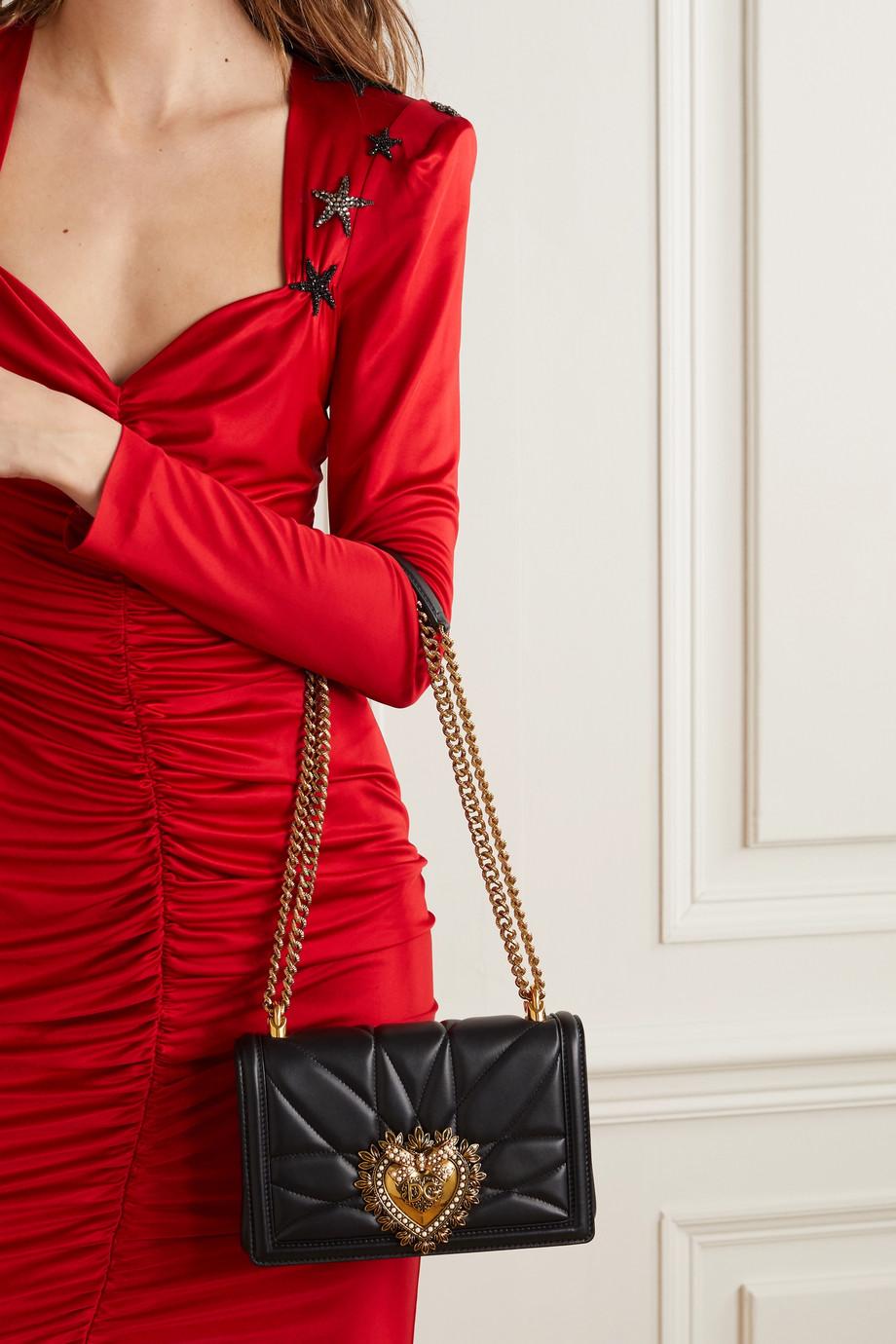 Dolce & Gabbana Devotion mini Schultertasche aus gestepptem Leder mit Verzierung