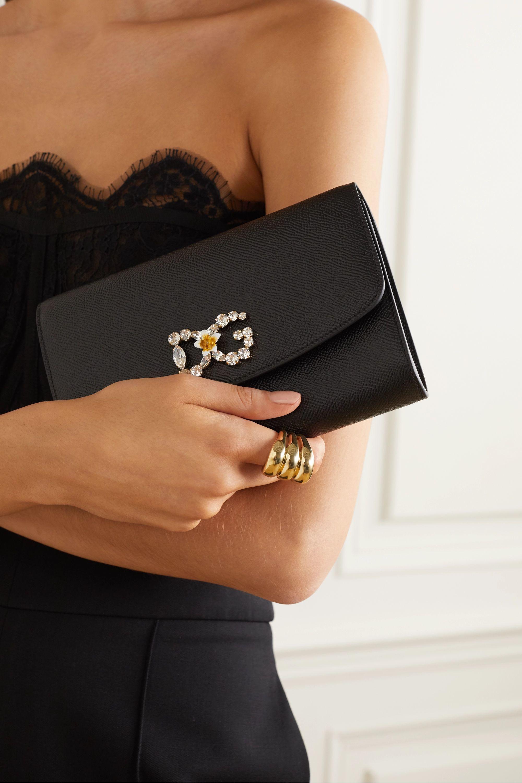 Dolce & Gabbana Mini crystal-embellished textured-leather shoulder bag
