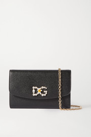 Dolce & Gabbana Mini crystal-embellished textured-leather shoulder bag