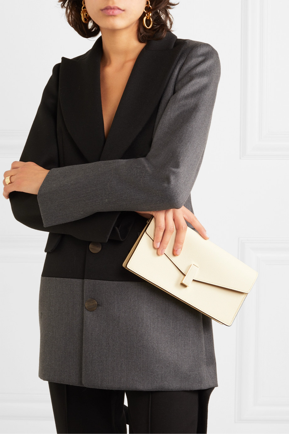 Valextra Iside textured-leather clutch