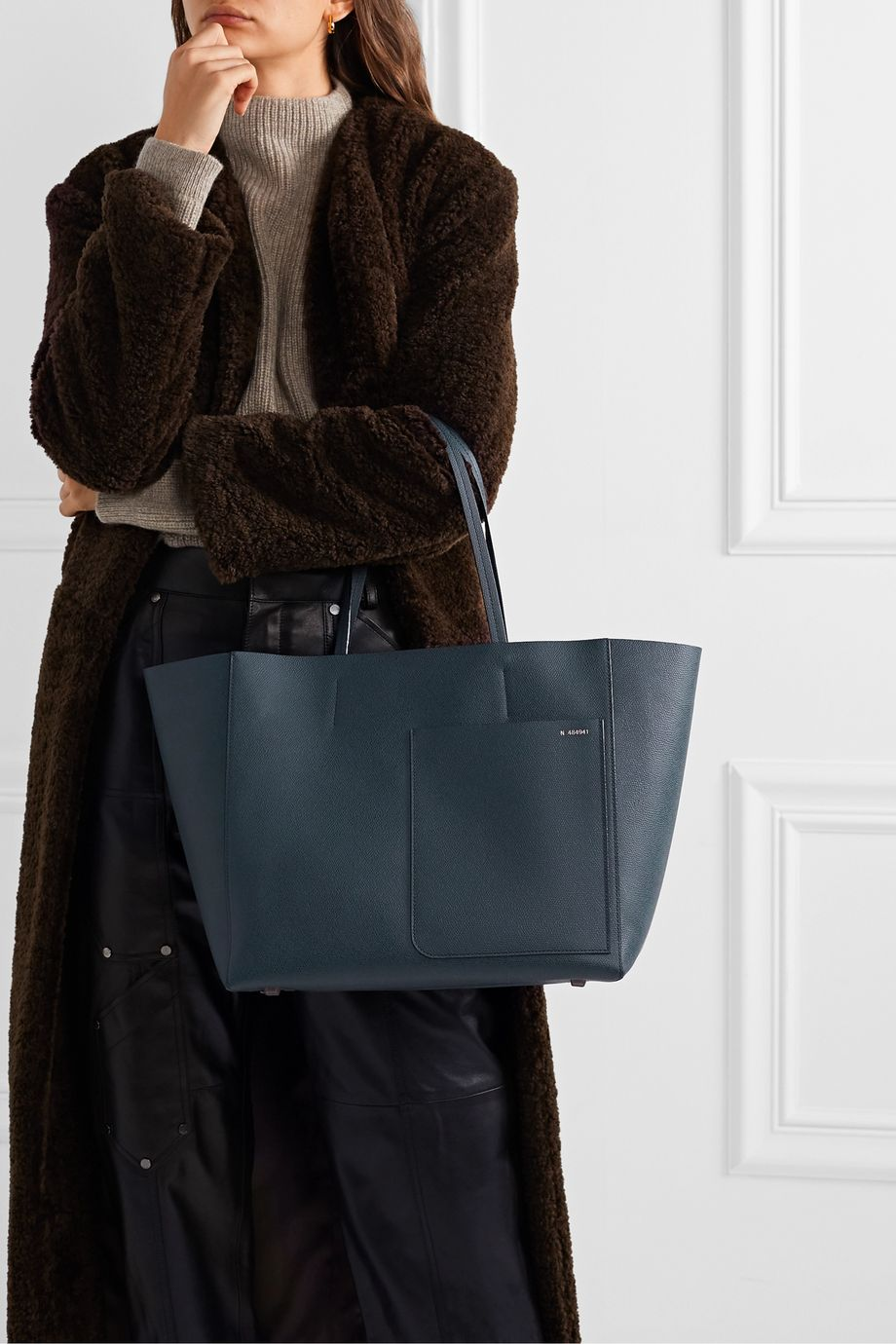 Valextra Shopping textured-leather tote