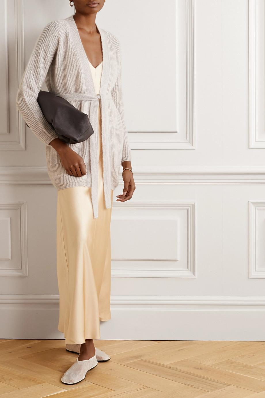 Max Mara Leisure Cognac belted metallic ribbed-knit cardigan