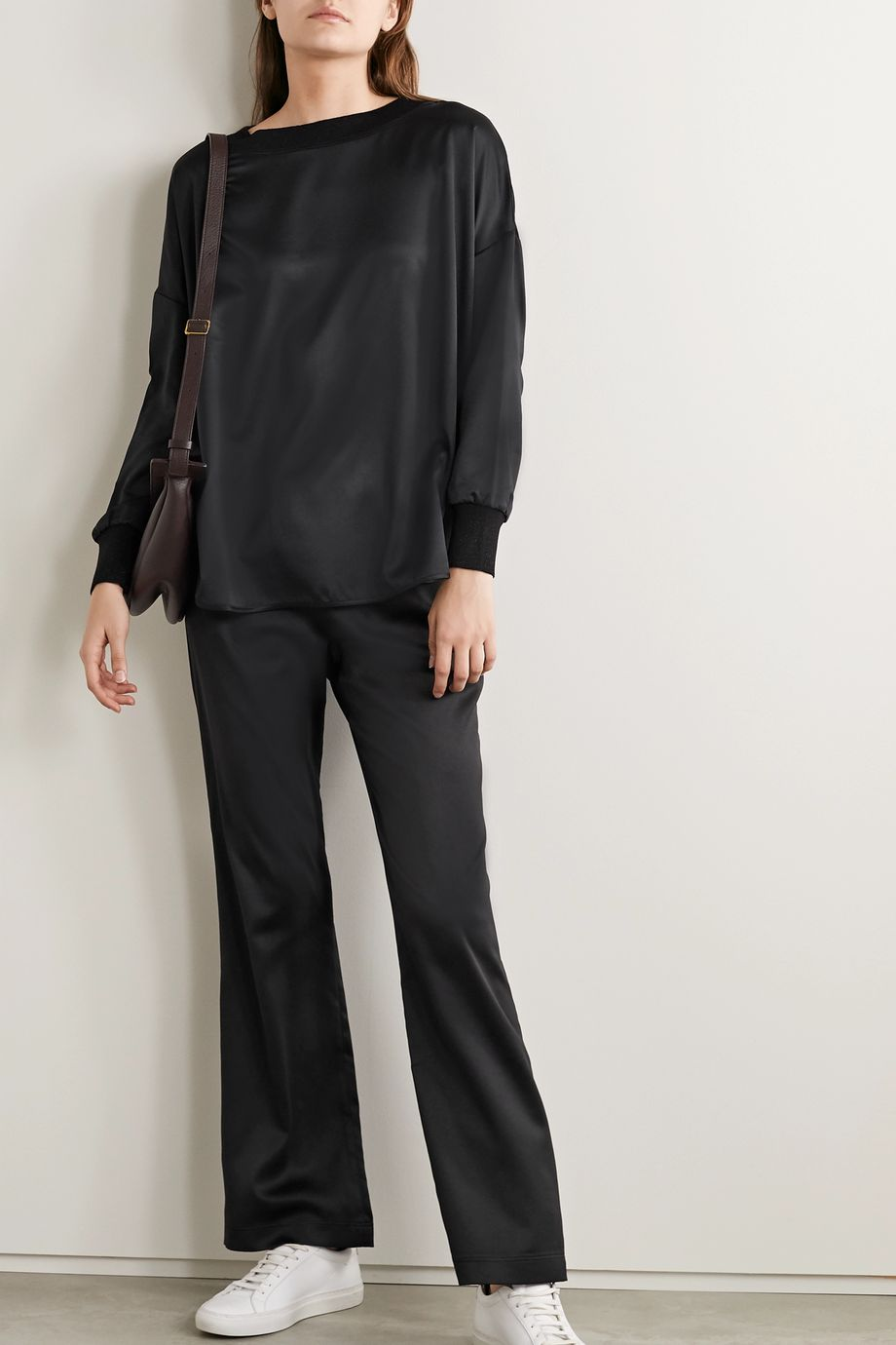 Max Mara Leisure Canada stretch jersey-trimmed satin top