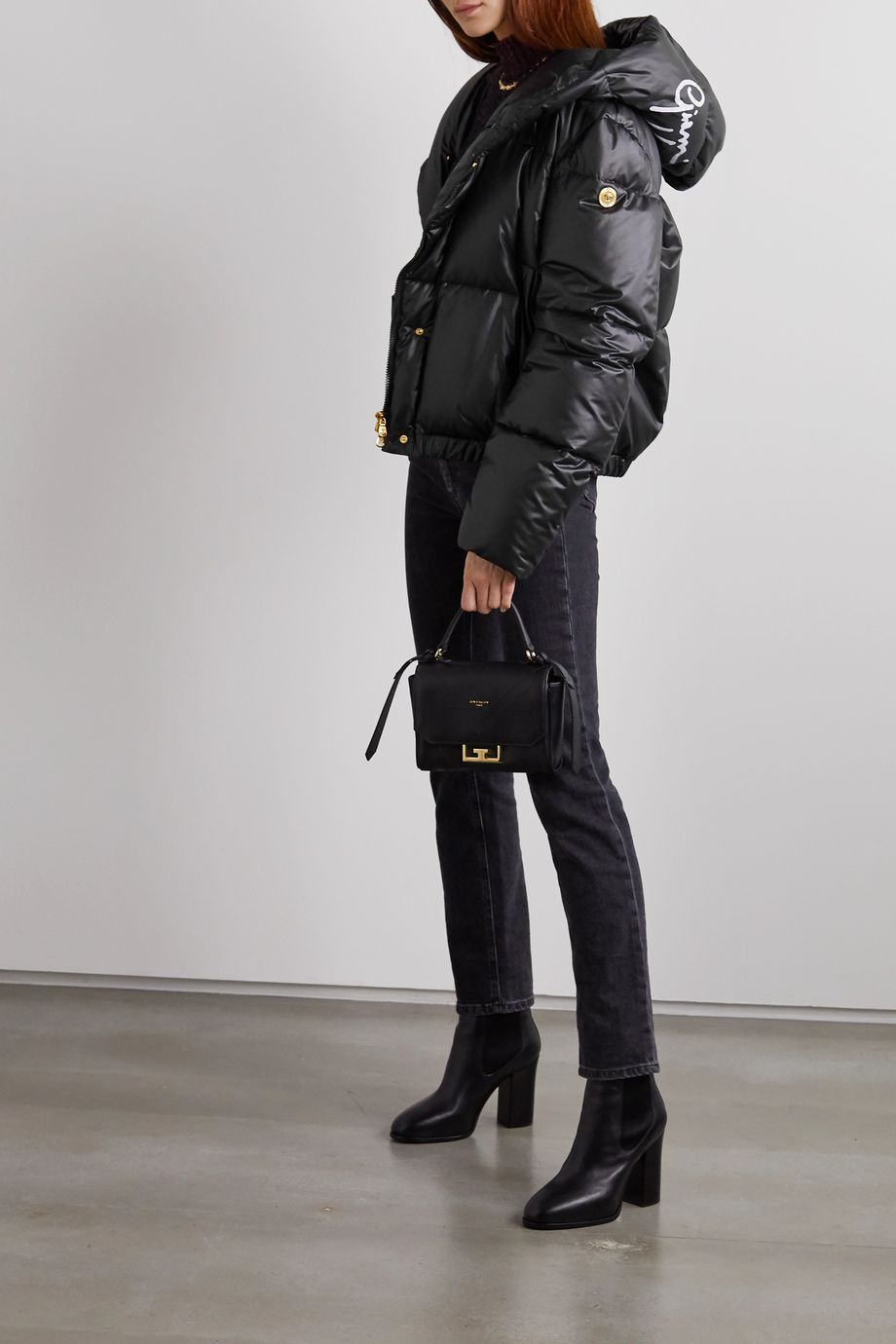 Versace Hooded printed quilted shell down jacket