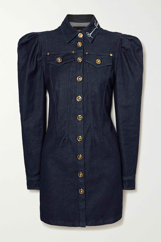 Versace Embroidered denim mini dress