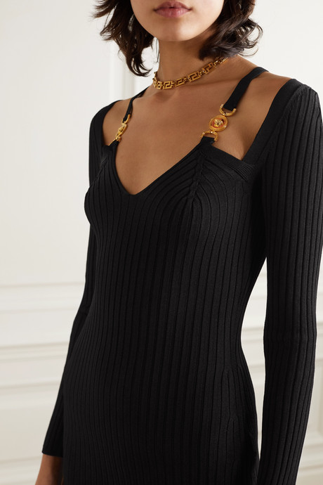 Cutout embellished ribbed-knit dress