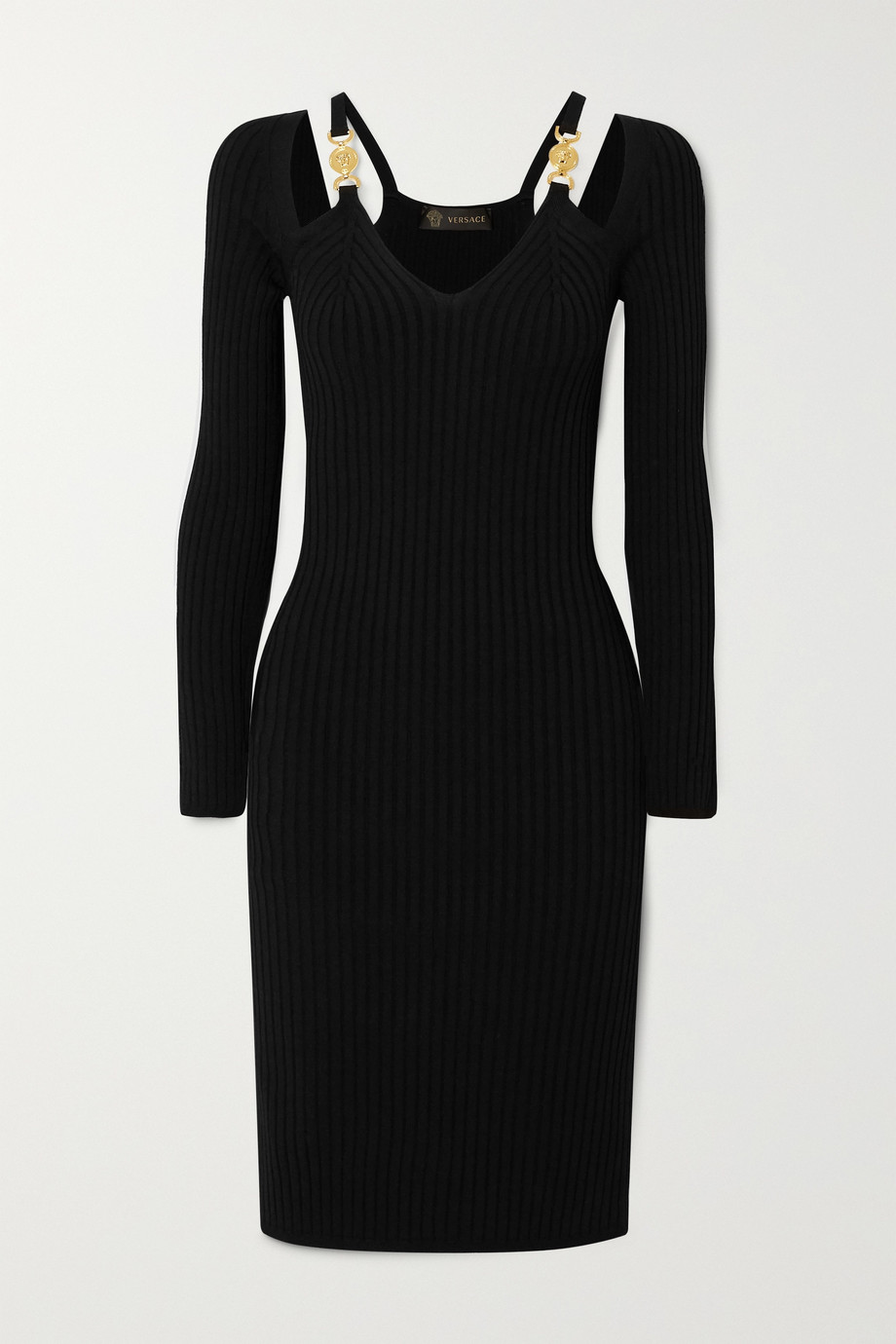 Versace Cutout embellished ribbed-knit dress