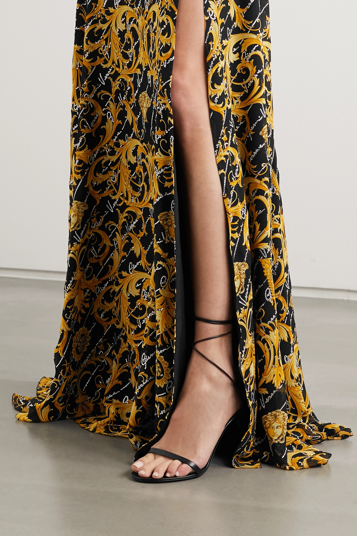 Versace Crystal-embellished twist-front printed silk-crepe gown