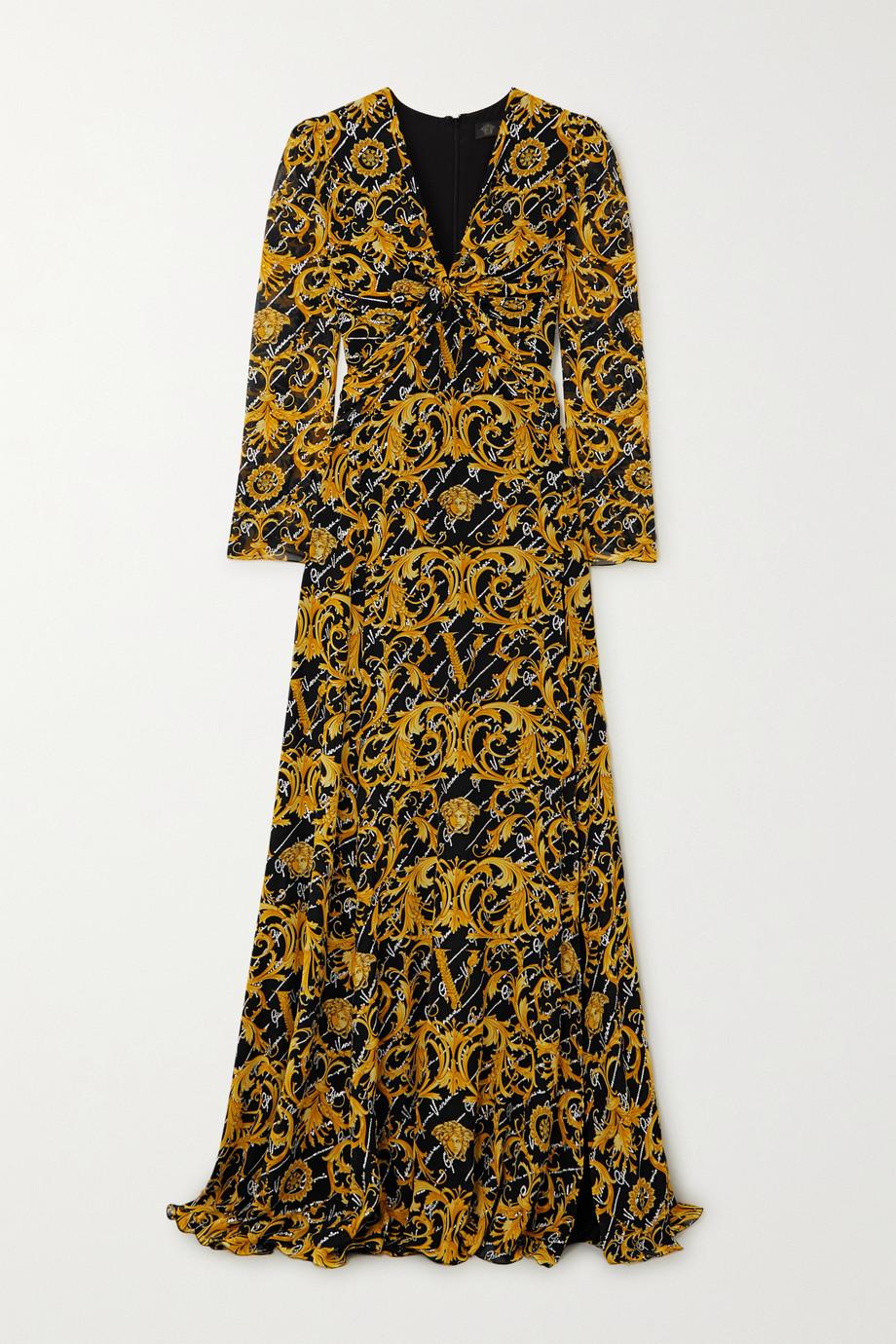 Versace Robe aus bedrucktem Seiden-Crêpe mit Twist-Detail und Kristallen