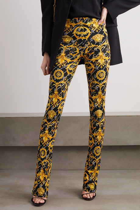 Printed stretch-jersey flared pants