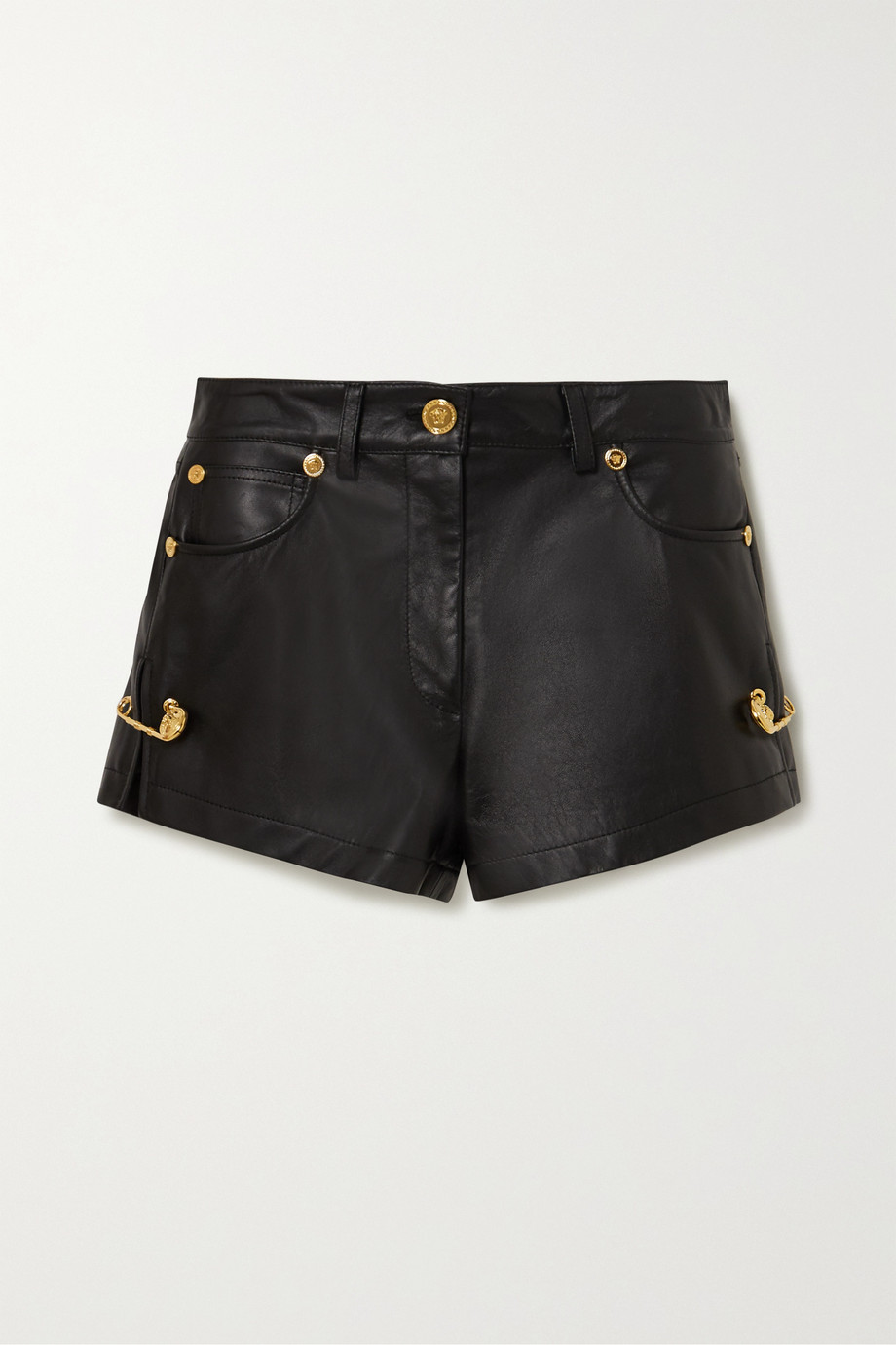 Versace Embellished leather shorts