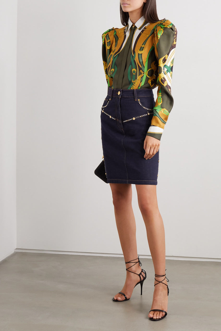 Versace Embellished denim mini skirt