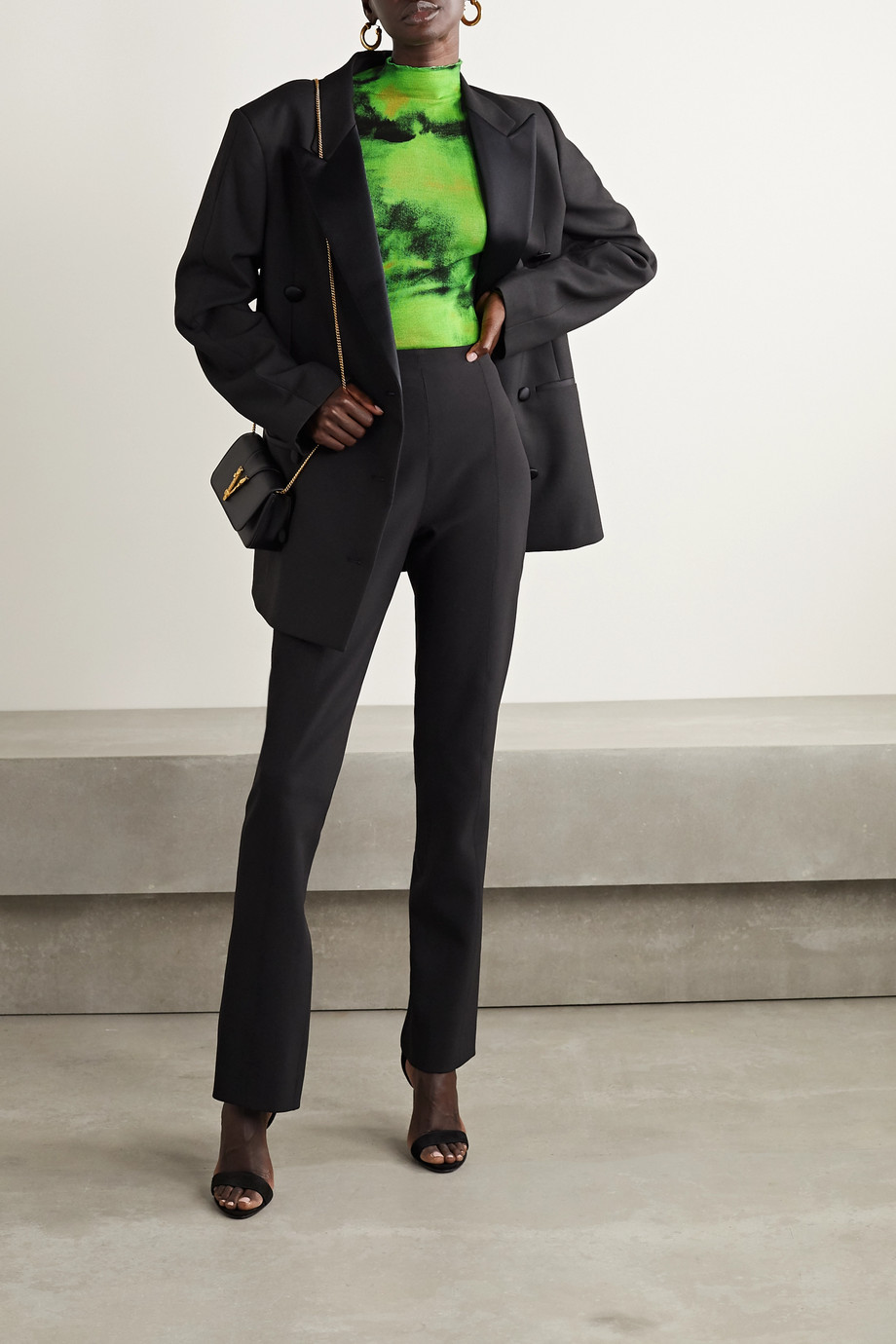 Versace Embroidered tie-dyed ribbed silk-jersey top