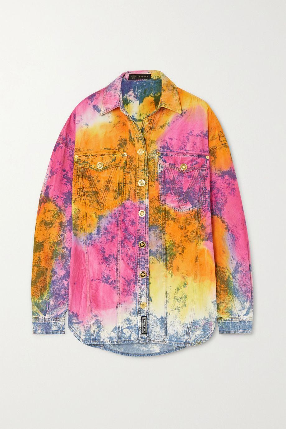 Versace Oversized tie-dyed denim shirt