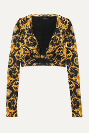 Versace Cropped embellished printed satin-jersey top