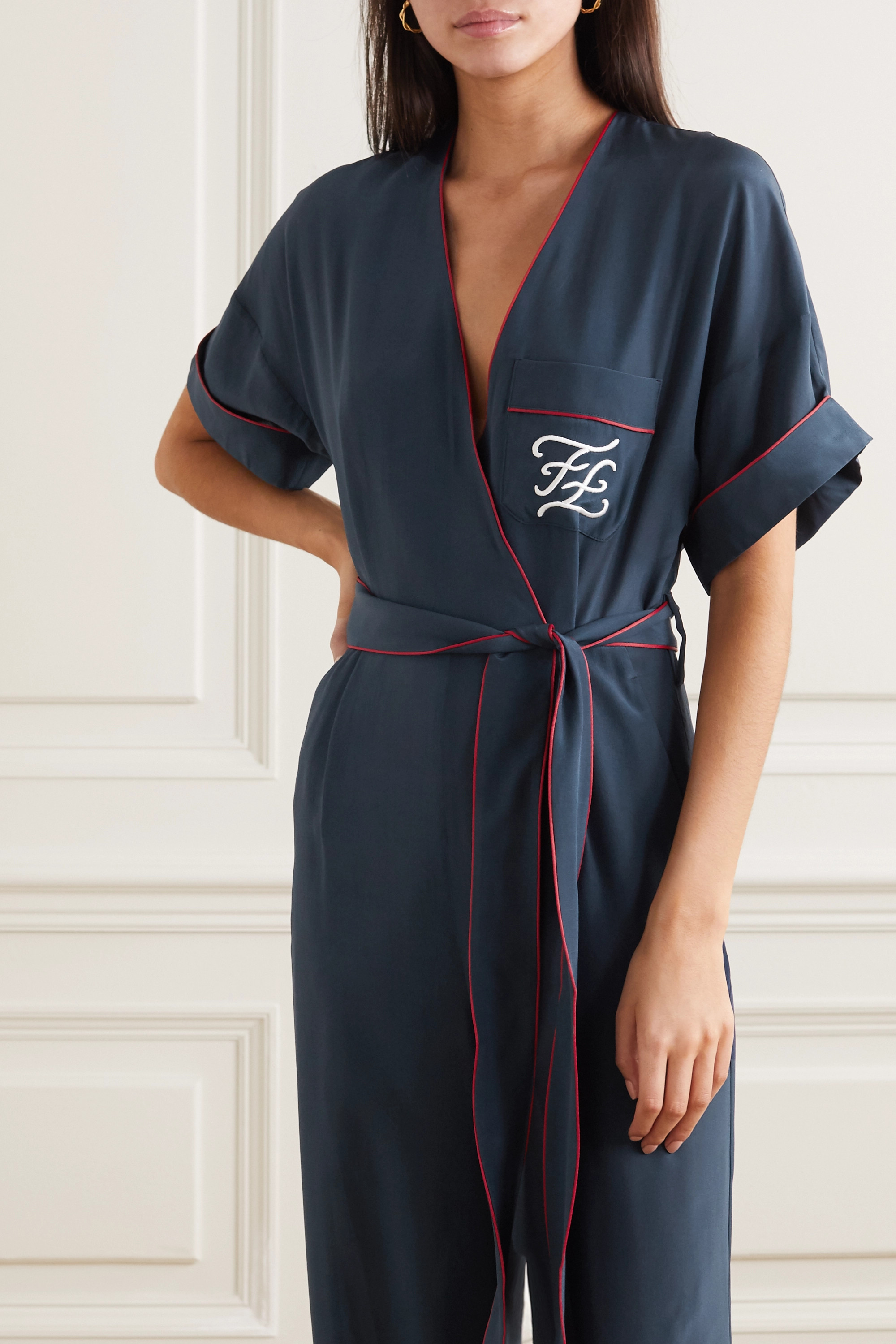 Fendi Tuta belted wrap-effect embroidered silk jumpsuit