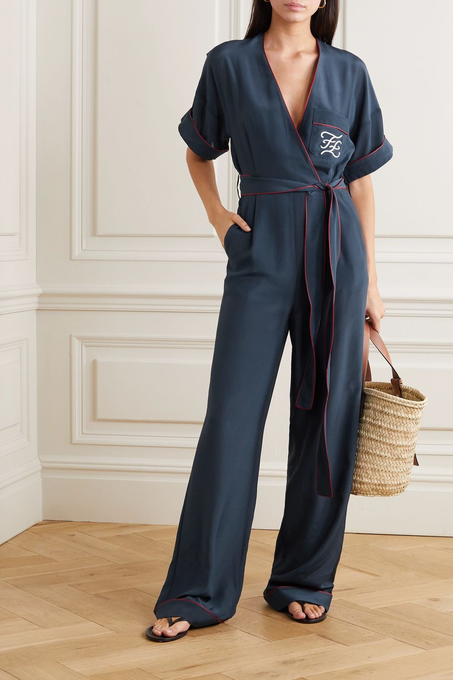 Fendi Tuta belted wrap-effect embroidered silk jumpsuit