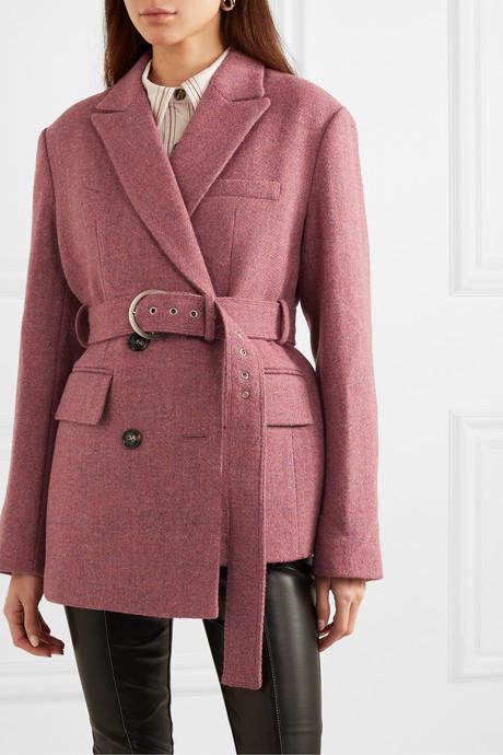 Oversized asymmetric belted wool-tweed blazer