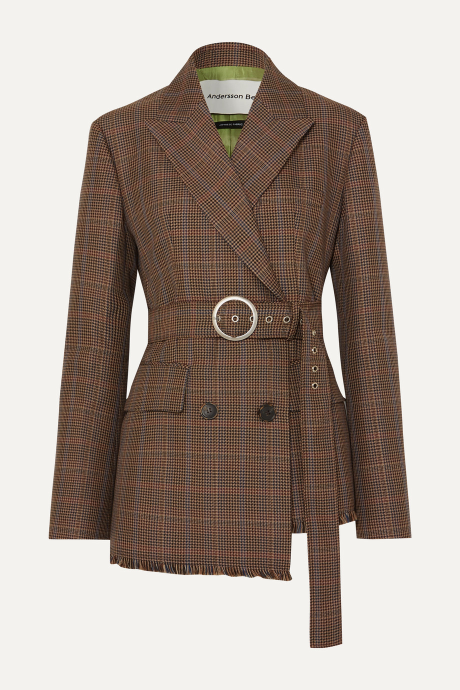 Andersson Bell Oversized belted checked wool-blend tweed blazer