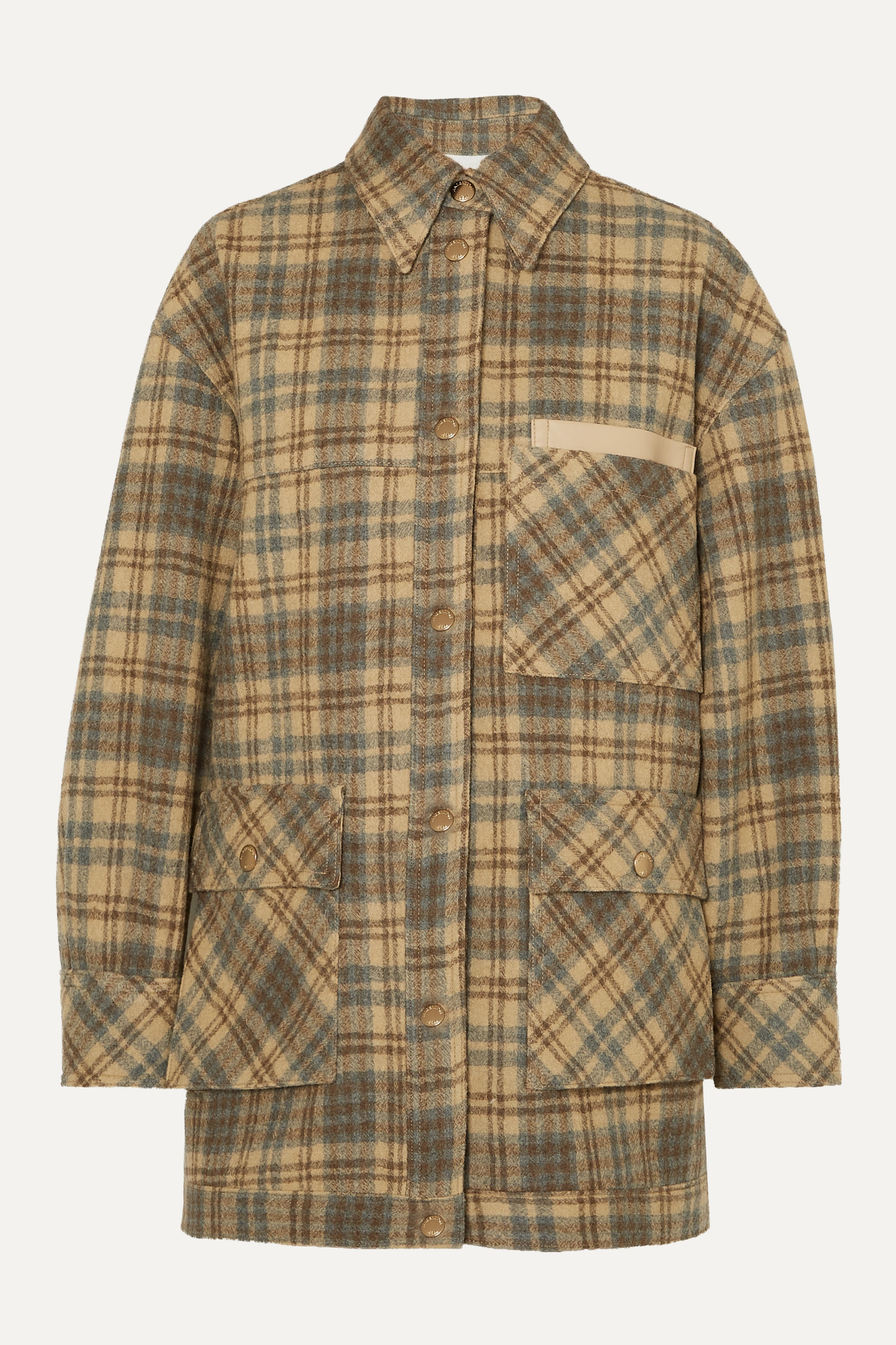 Andersson Bell Dena oversized vegan leather-trimmed checked wool jacket