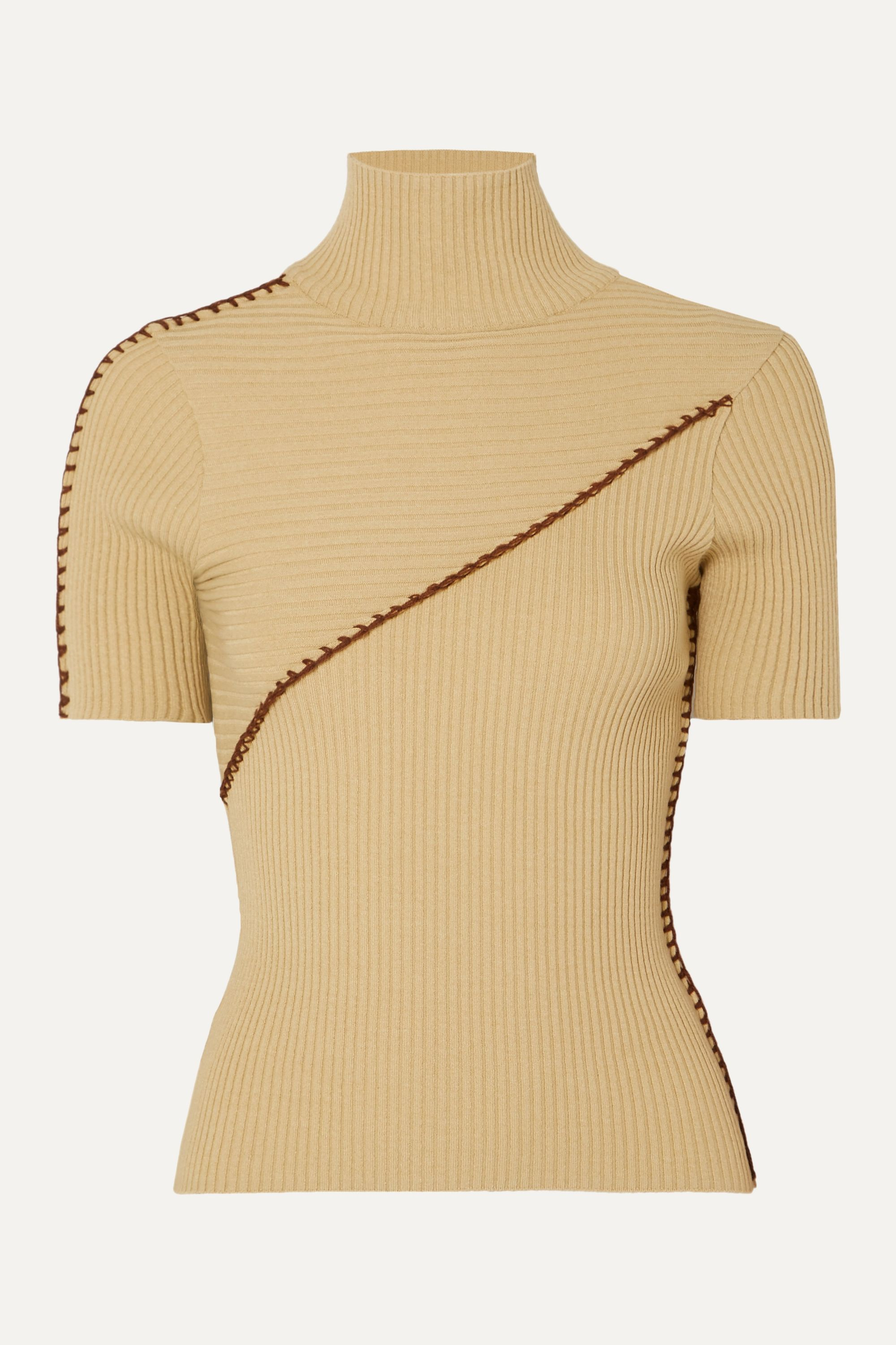 Andersson Bell Paneled ribbed turtleneck sweater