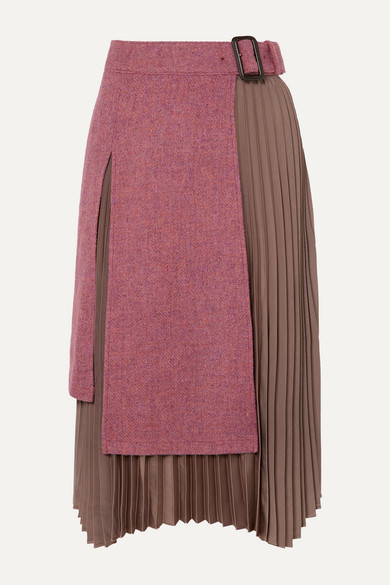 Layered Wool Tweed And Pleated Satin Midi Skirt by Andersson Bell
