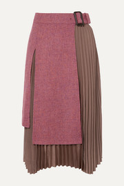 Andersson Bell Layered wool-tweed and pleated satin midi skirt