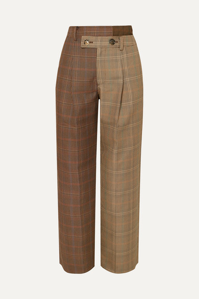 Fifty Fifty Asymmetric Checked Wool Blend Tweed Straight Leg Pants by Andersson Bell